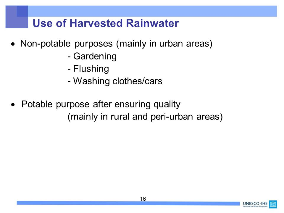 Use of Harvested Rainwater