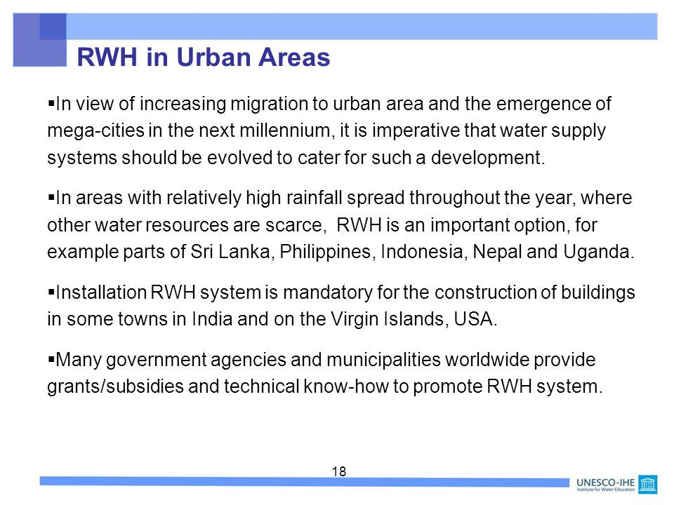RWH in Urban Areas