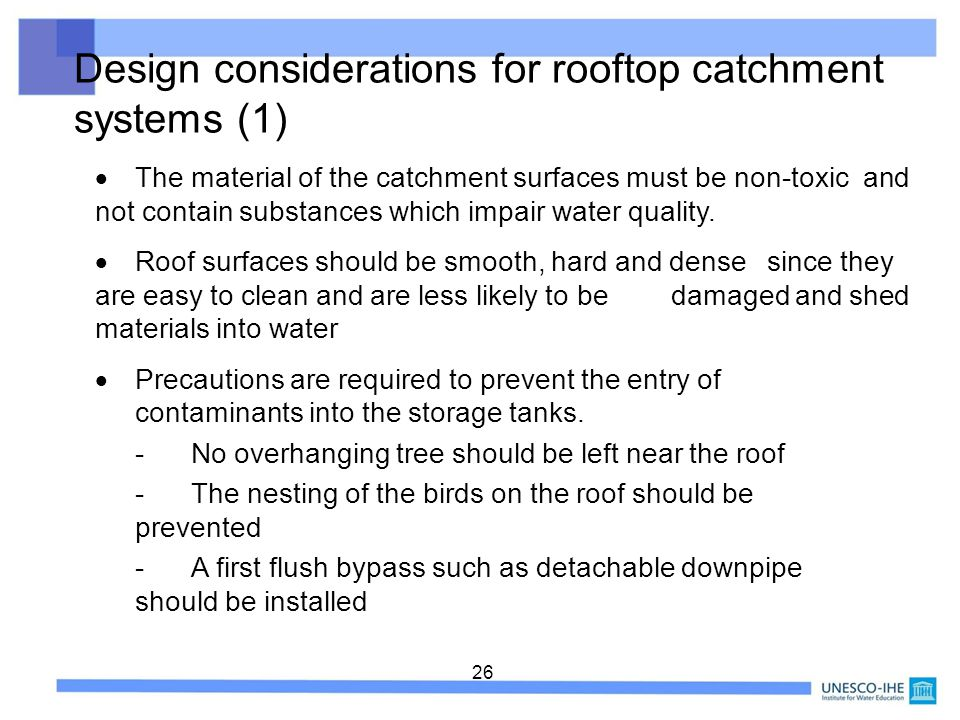 Design considerations for rooftop catchment systems (1)