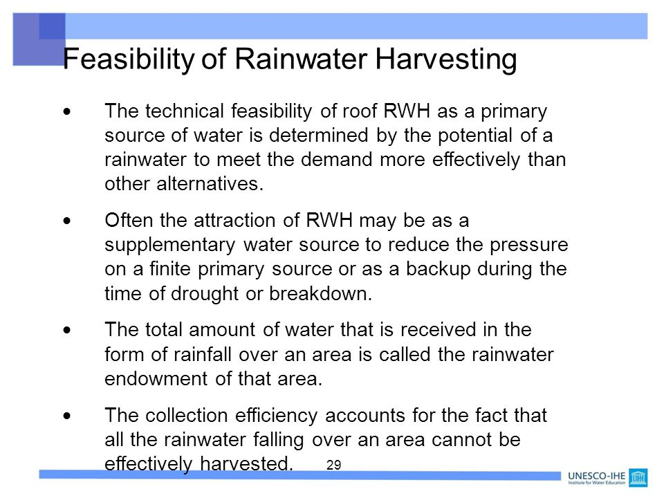 Feasibility of Rainwater Harvesting