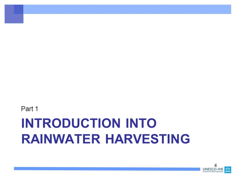 Introduction into rainwater harvesting