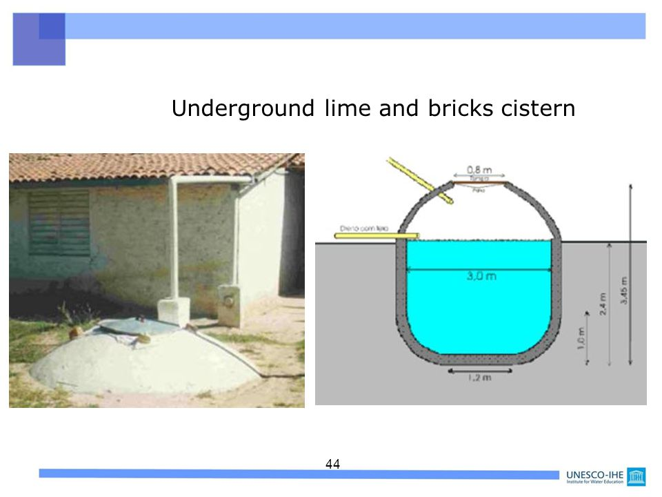 Underground lime and bricks cistern