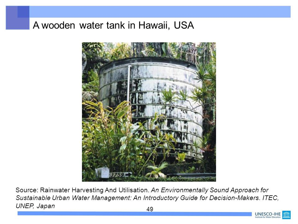 A wooden water tank in Hawaii, USA