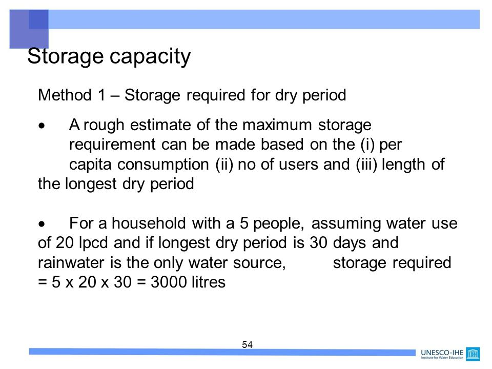 Storage capacity Method 1 – Storage required for dry period