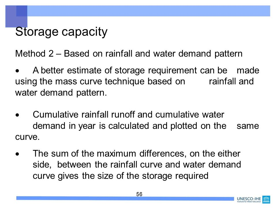 Storage capacity Method 2 – Based on rainfall and water demand pattern
