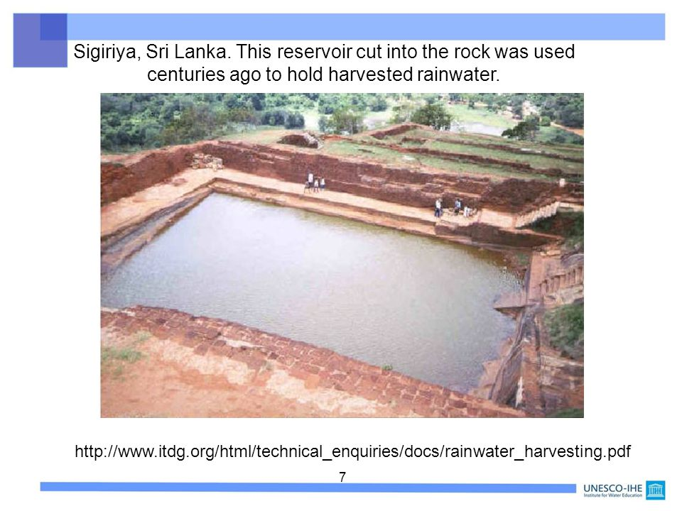 Sigiriya, Sri Lanka. This reservoir cut into the rock was used centuries ago to hold harvested rainwater.