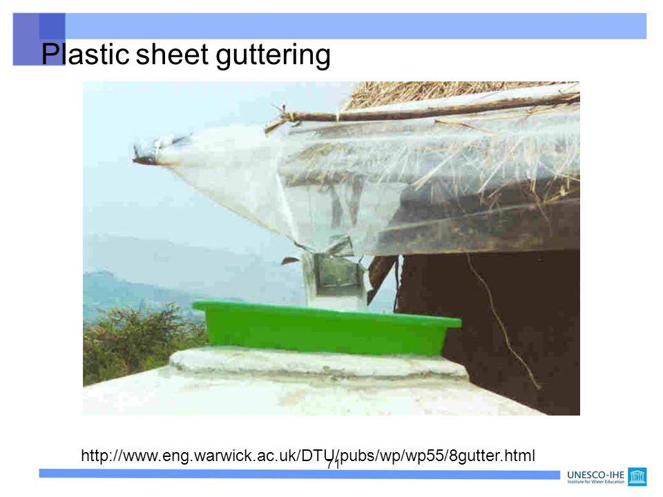 Plastic sheet guttering