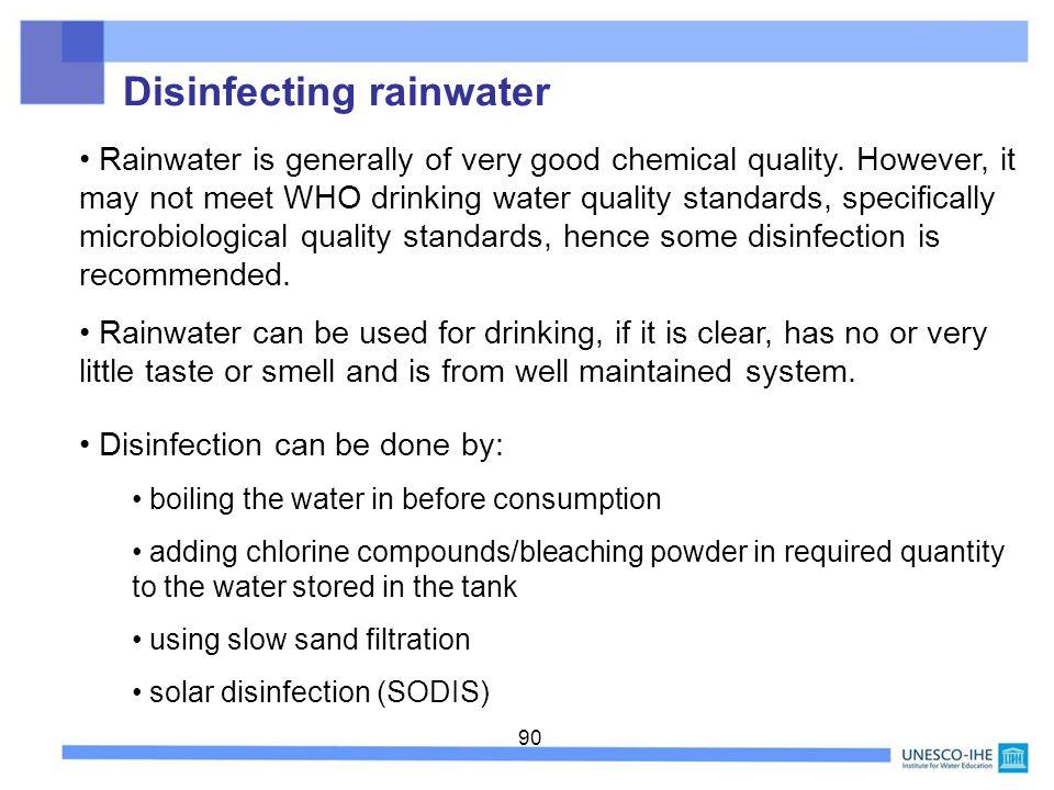 Disinfecting rainwater