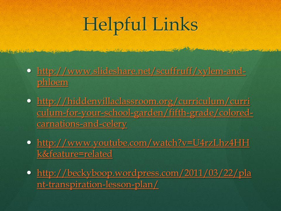 Helpful Links http://www.slideshare.net/scuffruff/xylem-and- phloem