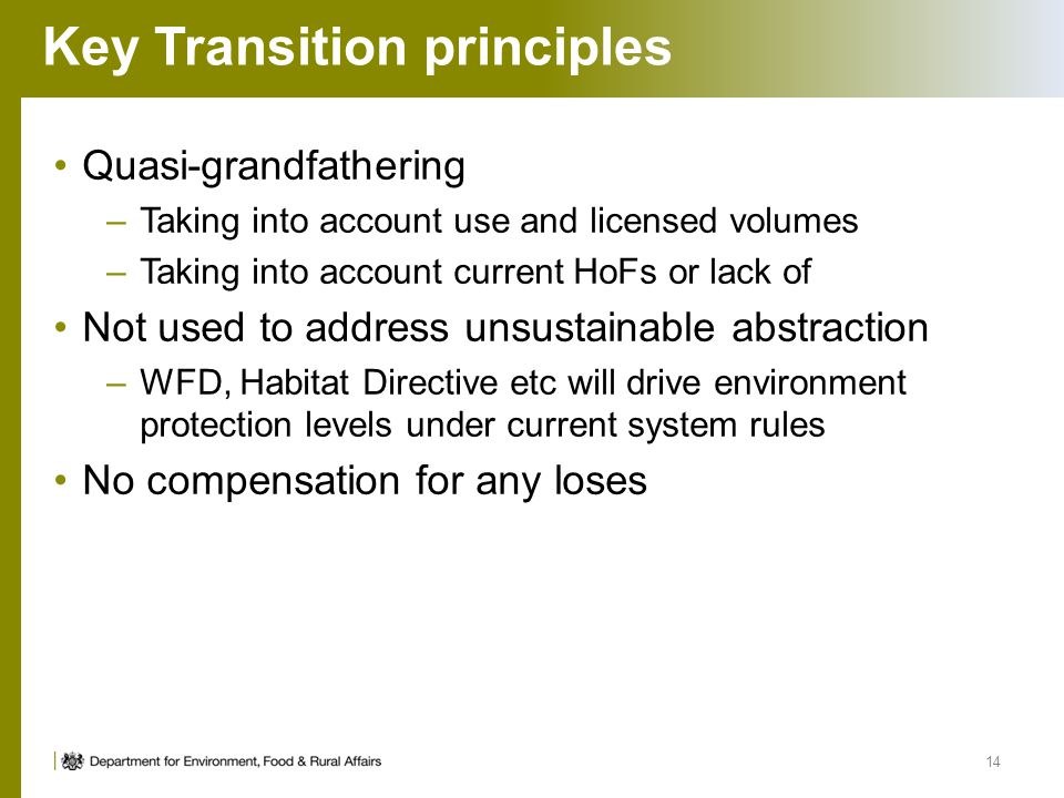 Key Transition principles