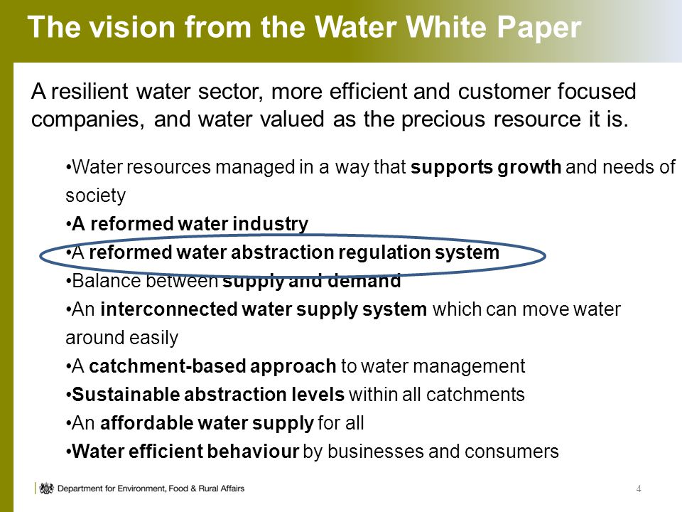 The vision from the Water White Paper