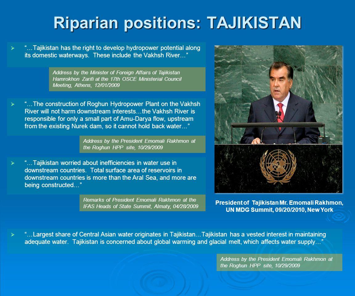 Riparian positions: TAJIKISTAN