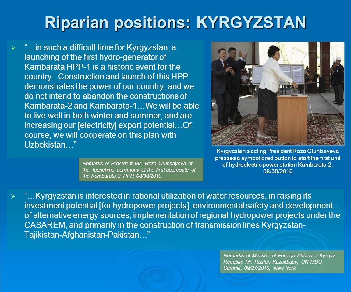 Riparian positions: KYRGYZSTAN