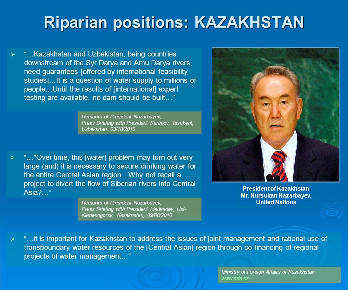 Riparian positions: KAZAKHSTAN