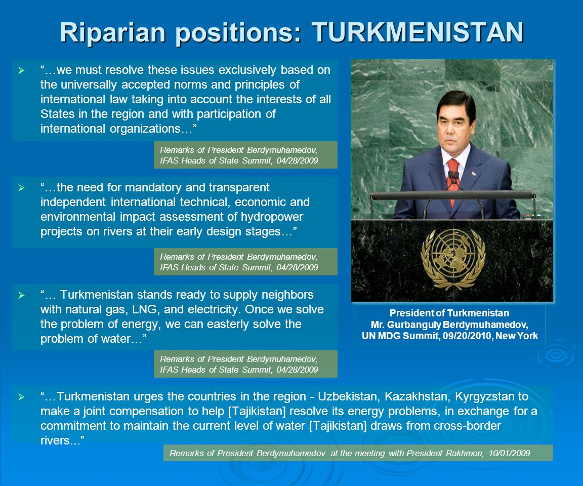 Riparian positions: TURKMENISTAN