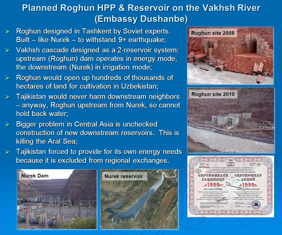 Planned Roghun HPP & Reservoir on the Vakhsh River (Embassy Dushanbe)