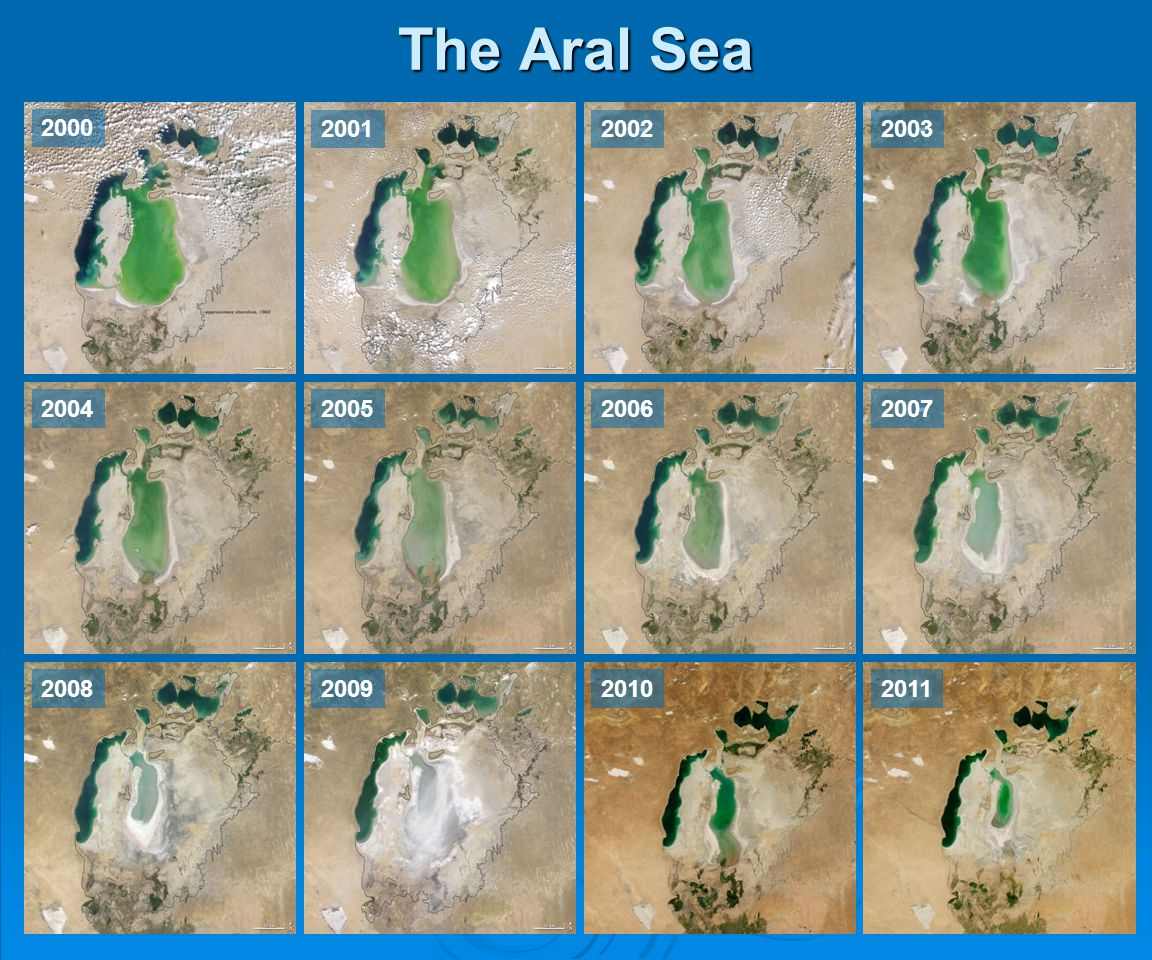 The Aral Sea 2000 2001 2002 2003 2004 2005 2006 2007 2008 2009 2010 2011