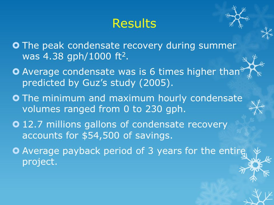 Results The peak condensate recovery during summer was 4.38 gph/1000 ft2.