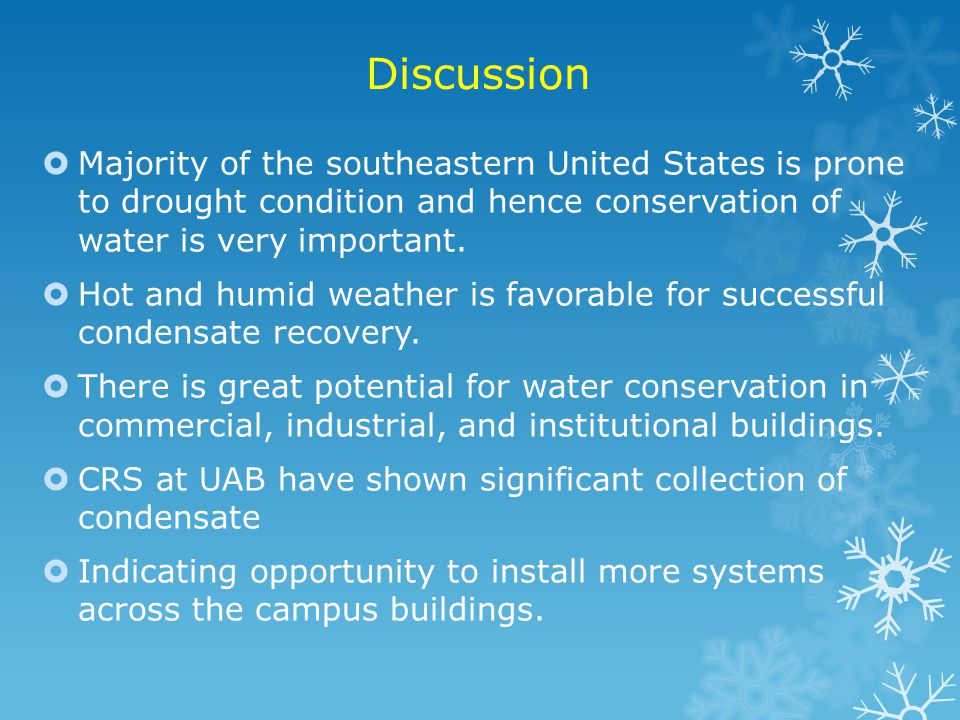 Discussion Majority of the southeastern United States is prone to drought condition and hence conservation of water is very important.