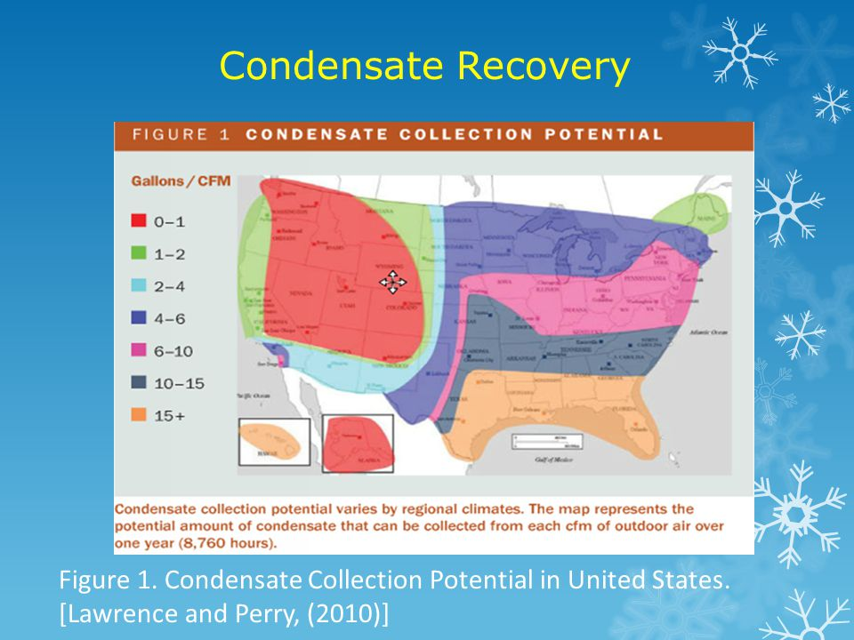 Condensate Recovery Figure 1. Condensate Collection Potential in United States.