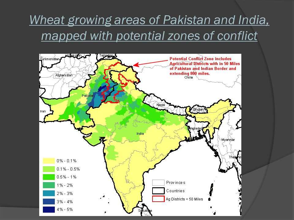 Wheat growing areas of Pakistan and India, mapped with potential zones of conflict