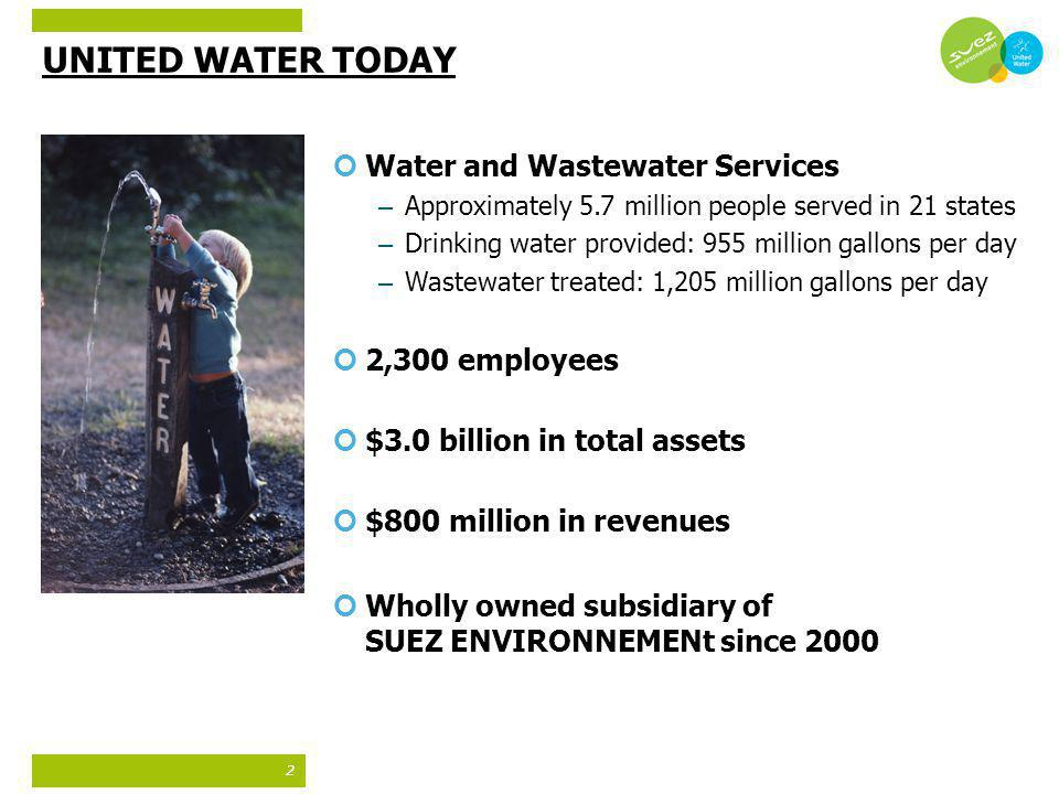 UNITED WATER TODAY Water and Wastewater Services 2,300 employees
