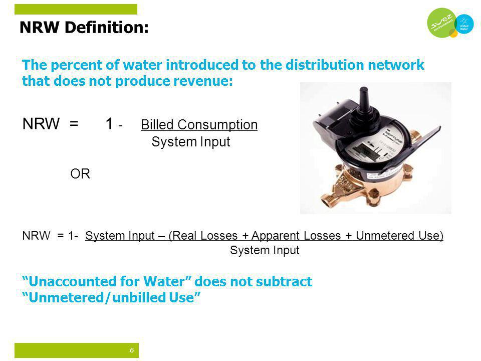 NRW Definition: The percent of water introduced to the distribution network that does not produce revenue: