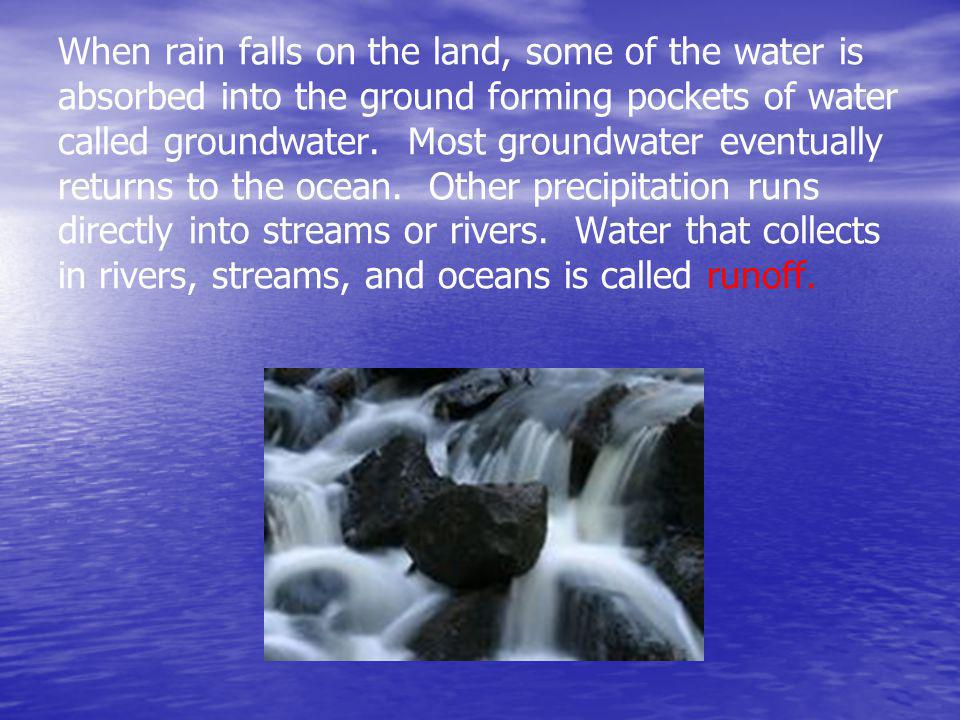 When rain falls on the land, some of the water is absorbed into the ground forming pockets of water called groundwater.