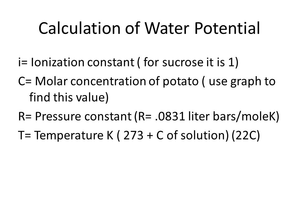Calculation of Water Potential