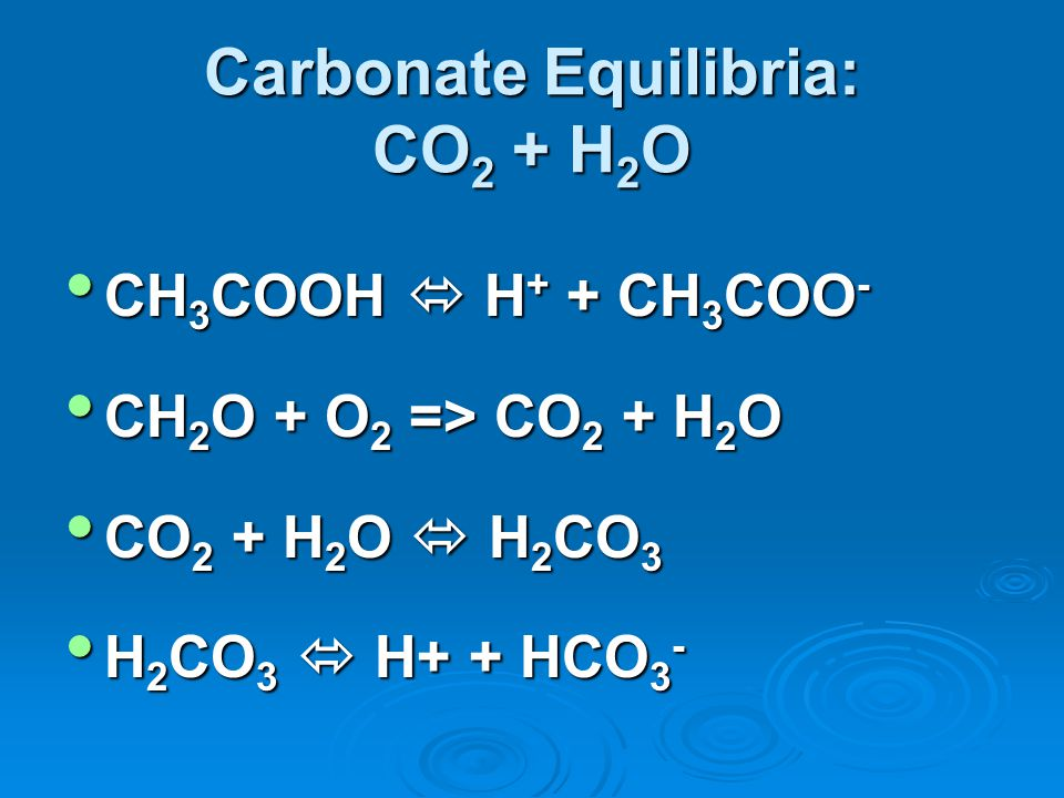 Carbonate Equilibria: CO2 + H2O