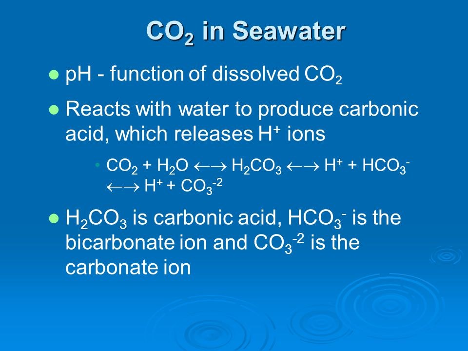 CO2 in Seawater pH - function of dissolved CO2