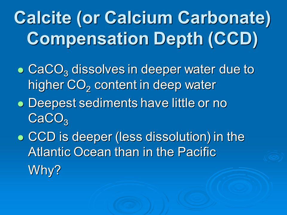 Calcite (or Calcium Carbonate) Compensation Depth (CCD)