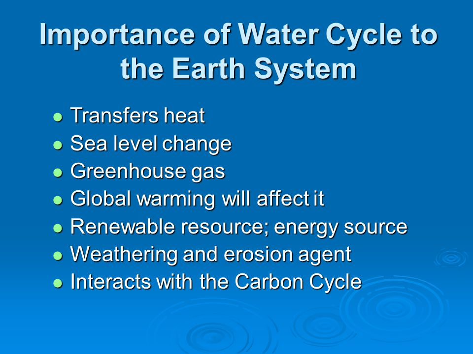 Importance of Water Cycle to the Earth System