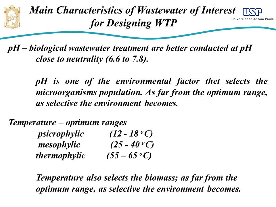 pH – biological wastewater treatment are better conducted at pH