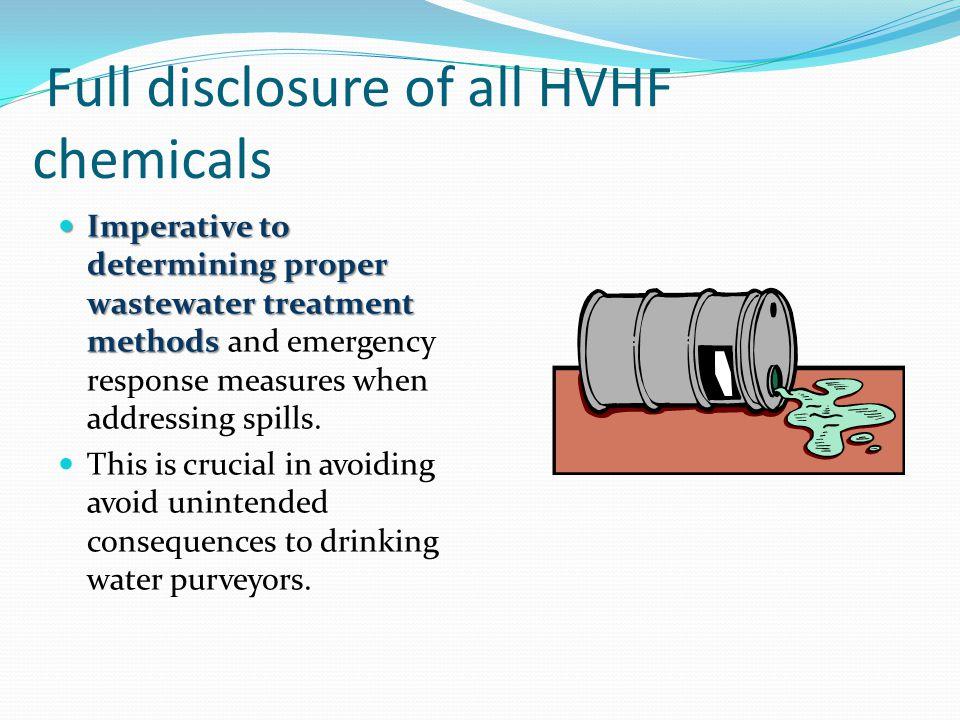 Full disclosure of all HVHF chemicals