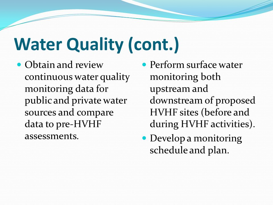 Water Quality (cont.)