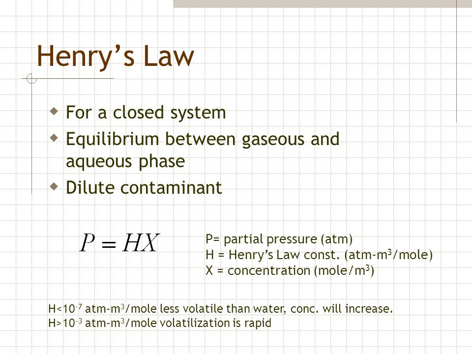 Henry's Law For a closed system