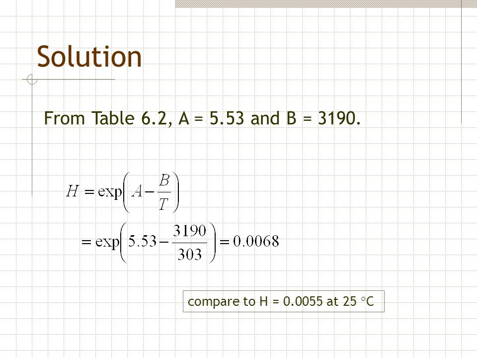 Solution From Table 6.2, A = 5.53 and B = 3190.