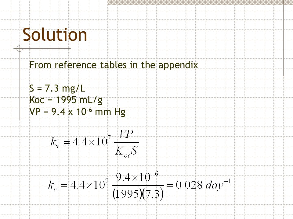 Solution From reference tables in the appendix S = 7.3 mg/L