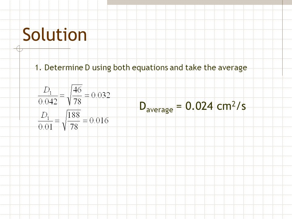 Solution Daverage = 0.024 cm2/s