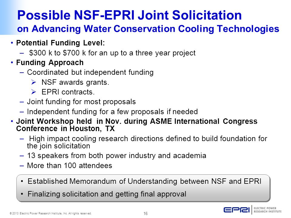 Possible NSF-EPRI Joint Solicitation on Advancing Water Conservation Cooling Technologies