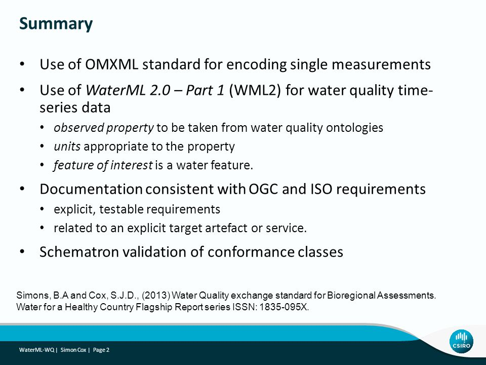 Summary Use of OMXML standard for encoding single measurements