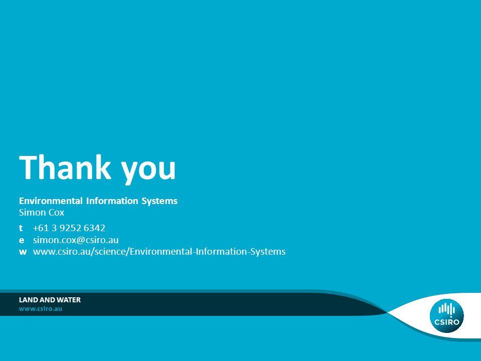 Thank you Environmental Information Systems Simon Cox
