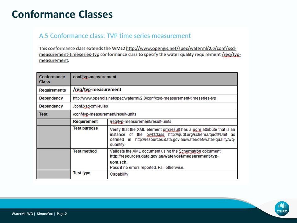 Conformance Classes WaterML-WQ   Simon Cox   Page 2