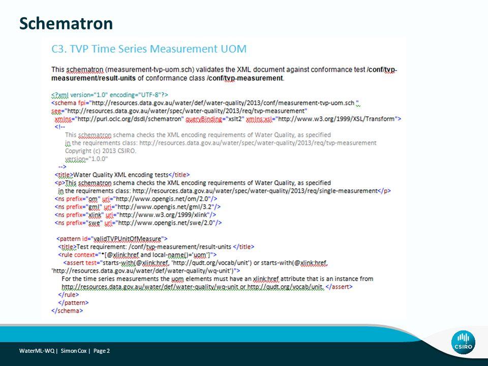Schematron WaterML-WQ   Simon Cox   Page 2