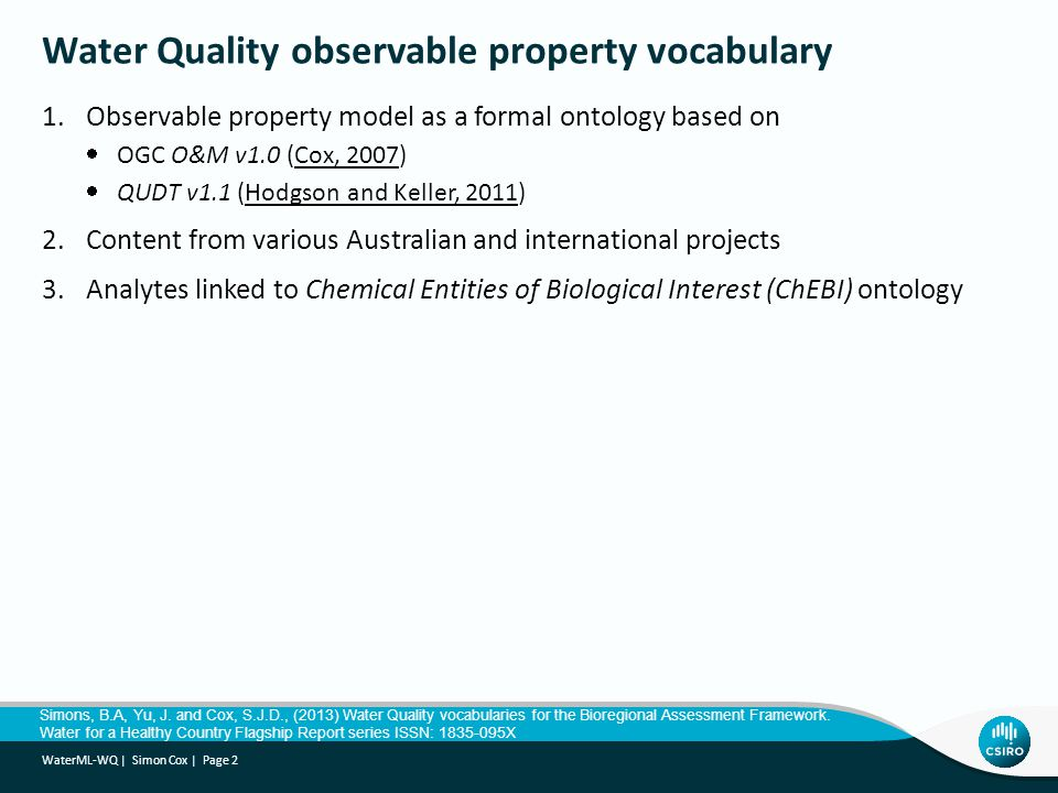 Water Quality observable property vocabulary