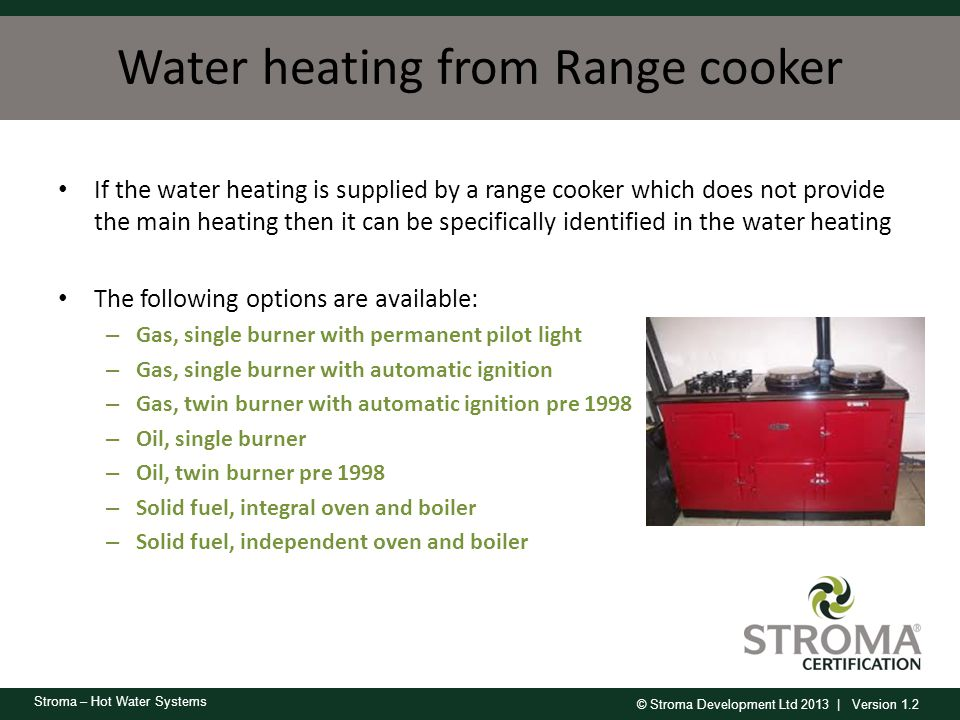 Water heating from Range cooker