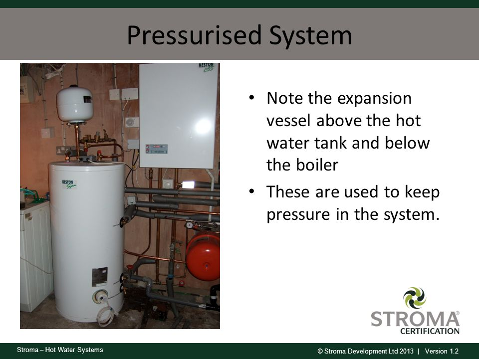 Pressurised System Note the expansion vessel above the hot water tank and below the boiler.