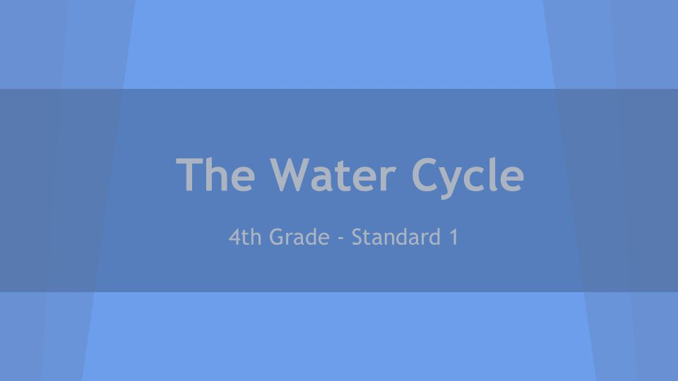 The Water Cycle 4th Grade - Standard 1