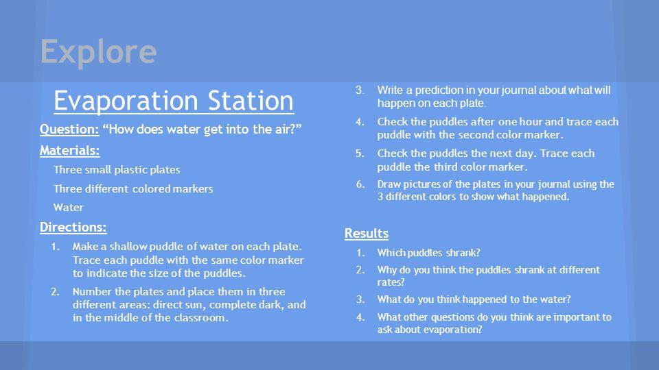 Explore Evaporation Station